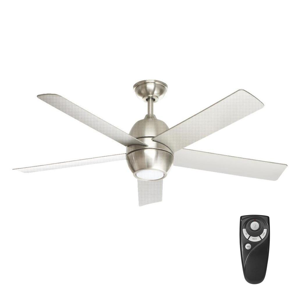 Home Decorators Collection Greco Iii 52 In Led Indoor Brushed Nickel Ceiling Fan With Light