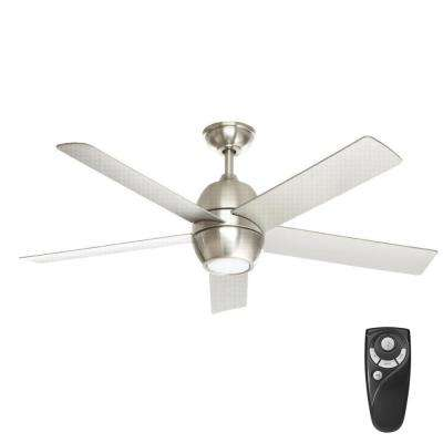 Greco III 52 in. LED Indoor Brushed Nickel Ceiling Fan with Light Kit and Remote Control
