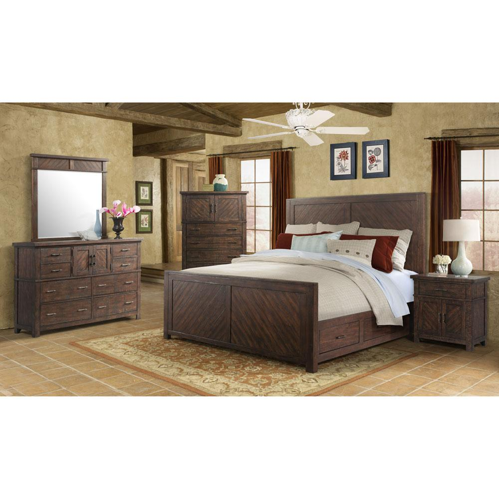 cambridge montana storage 5 piece smoky walnut bedroom suite queen size bed dresser mirror. Black Bedroom Furniture Sets. Home Design Ideas