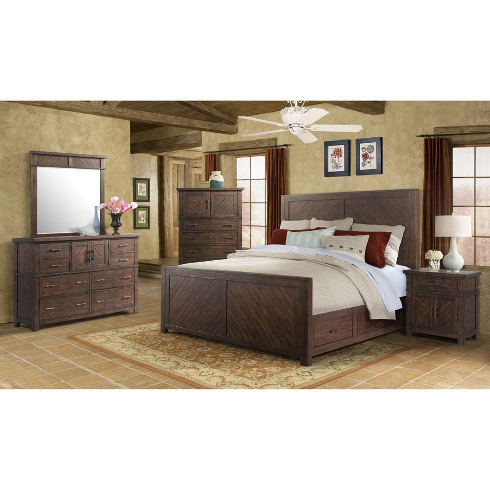 Storage Smoky Walnut Suite Queen Size Bed Dresser Mirror
