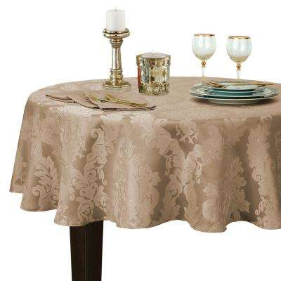 90 in. Round Beige Elrene Barcelona Damask Fabric Tablecloth