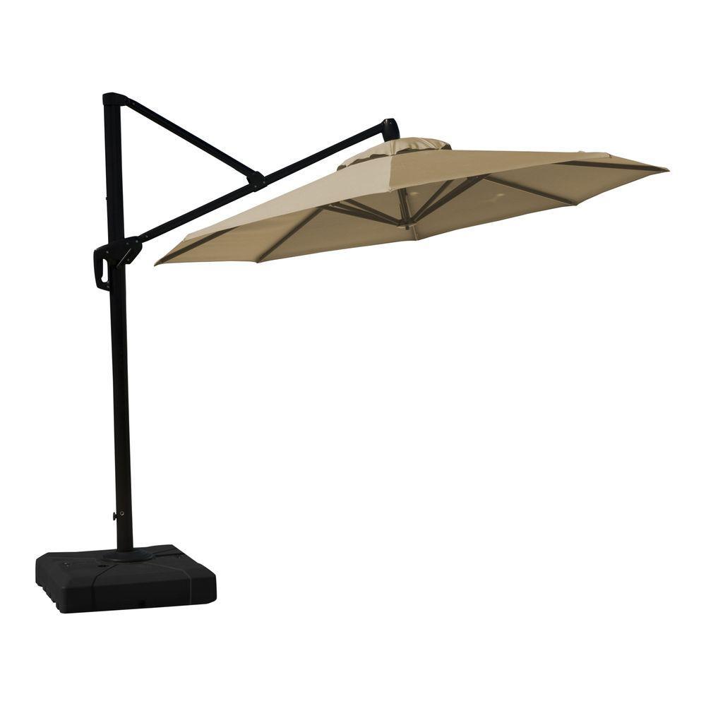 10 ft. Aluminum Round Tilt Patio Umbrella in Heather Beige