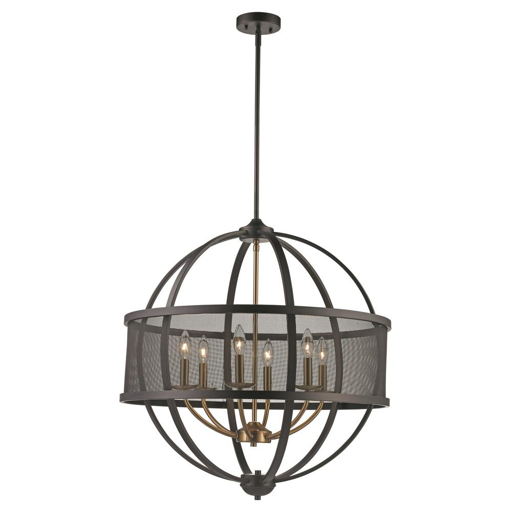 6-Light Bronze and Antique Gold Pendant with Metal Shade