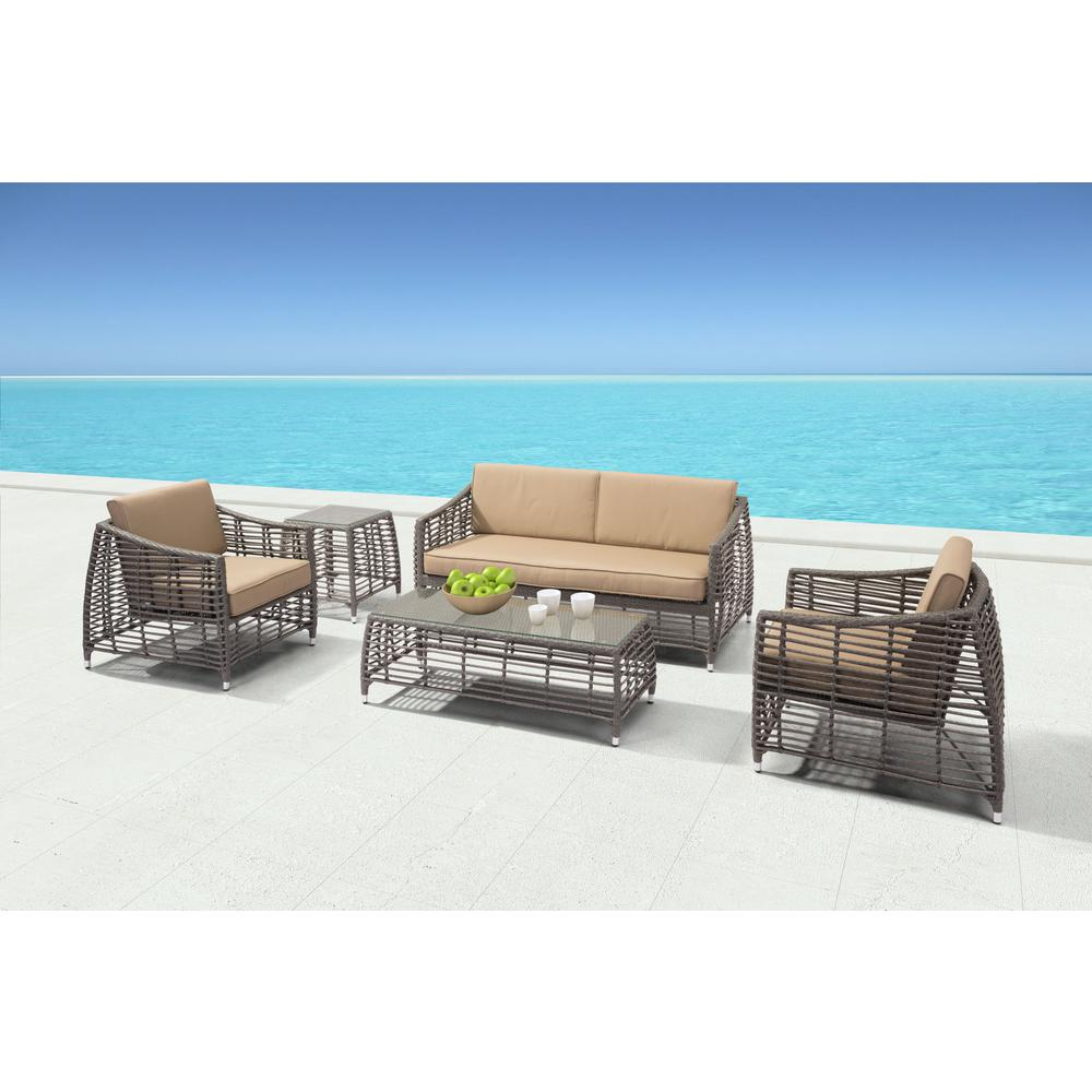 Merveilleux ZUO Trek Beach Aluminum Outdoor Sofa With Beige Cushion
