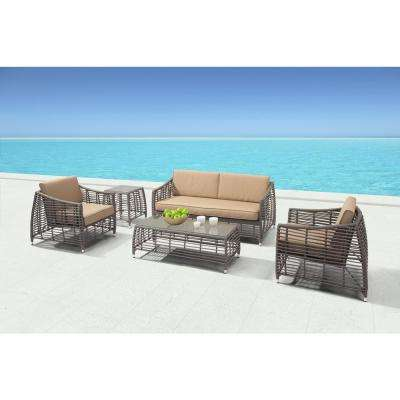 Trek Beach Aluminum Outdoor Sofa with Beige Cushion - ZUO - Outdoor Lounge Furniture - Patio Furniture - The Home Depot