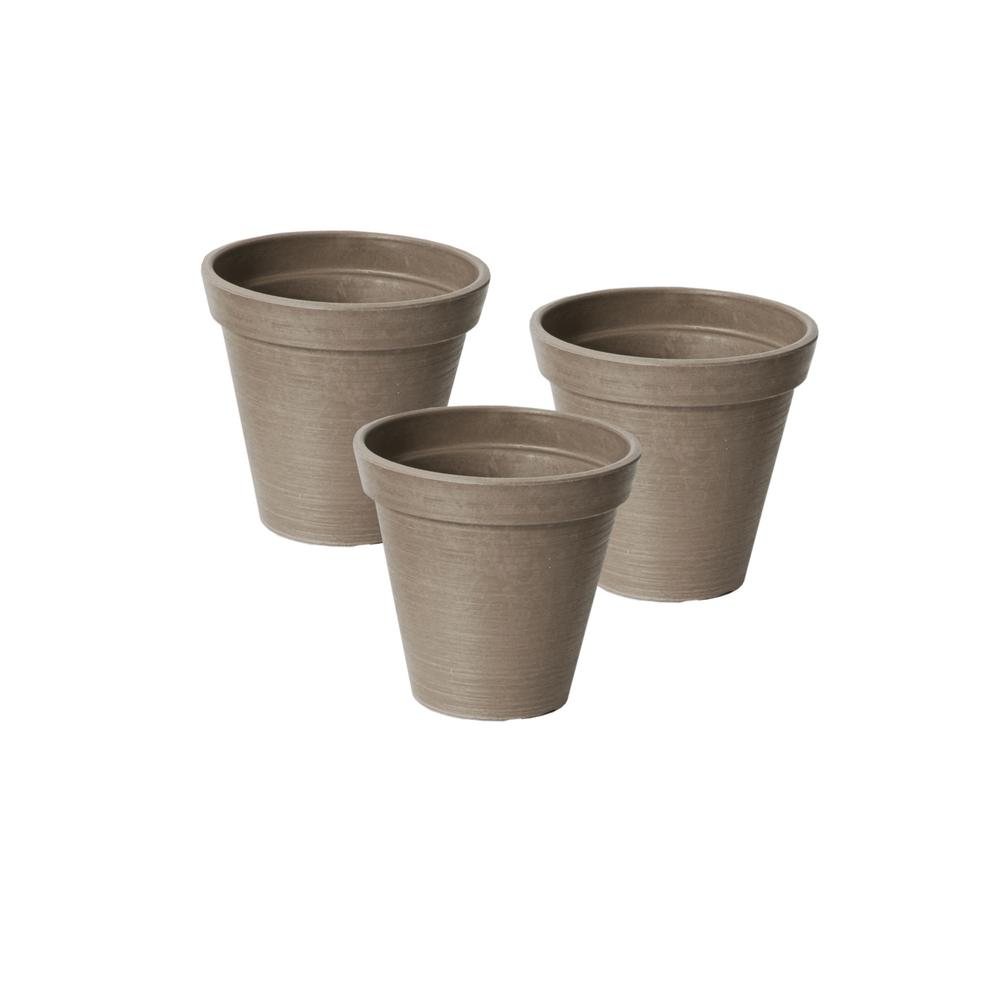 Valencia 4 in. Round Banded Spun Taupe Polystone Planters (3-Pack)