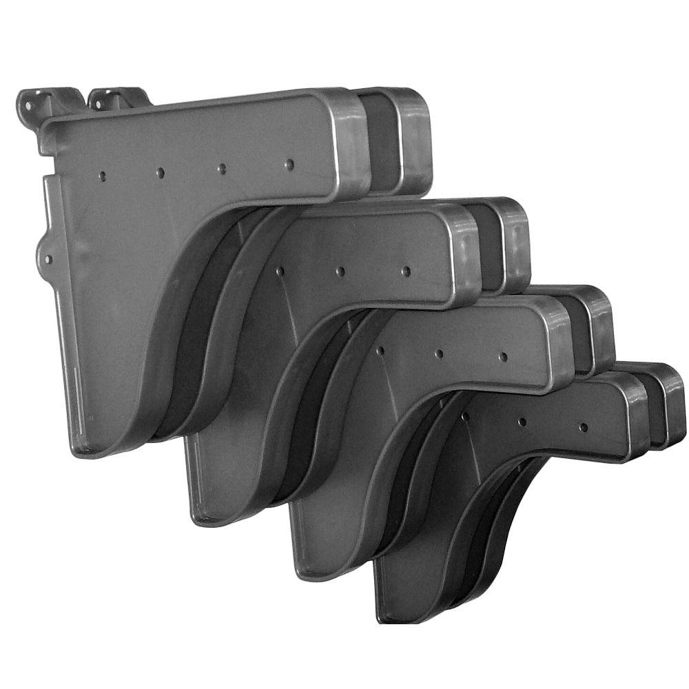 EZ Shelf 12 in. x 10 in. Silver End Brackets (Set of 8) for Shelf (For mounting to back wall/connecting)