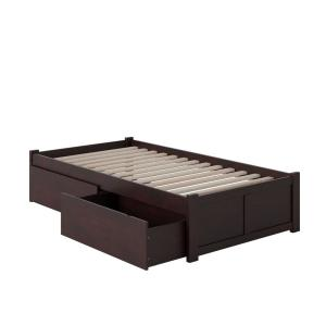 Concord Espresso Twin Platform Bed with Flat Panel Foot Board and 2-Urban Bed Drawers