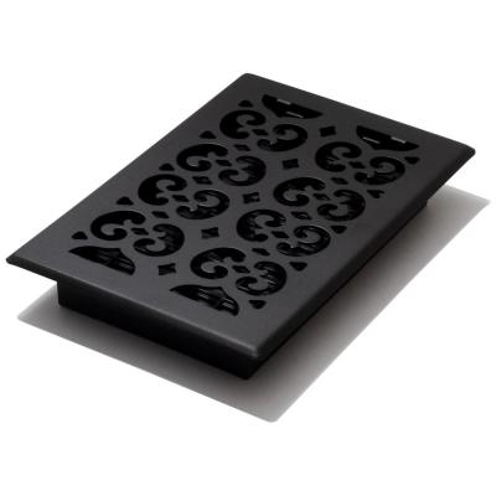 6x10 Scroll Text Black Floor Register