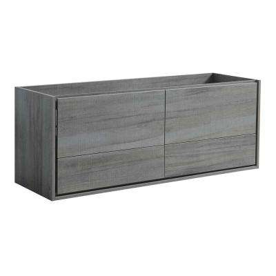 Catania 60 in. Modern Wall Hung Double Bath Vanity Cabinet Only in Ocean Gray
