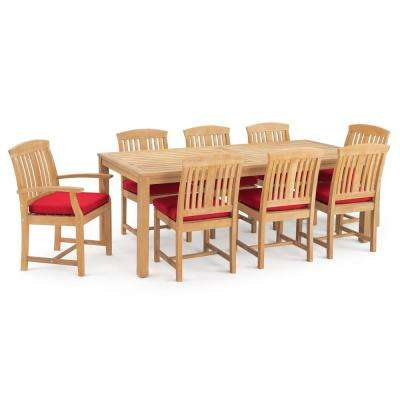Kooper 9-Piece Wood Outdoor Dining Set with Sunbrella Sunset Red Cushions