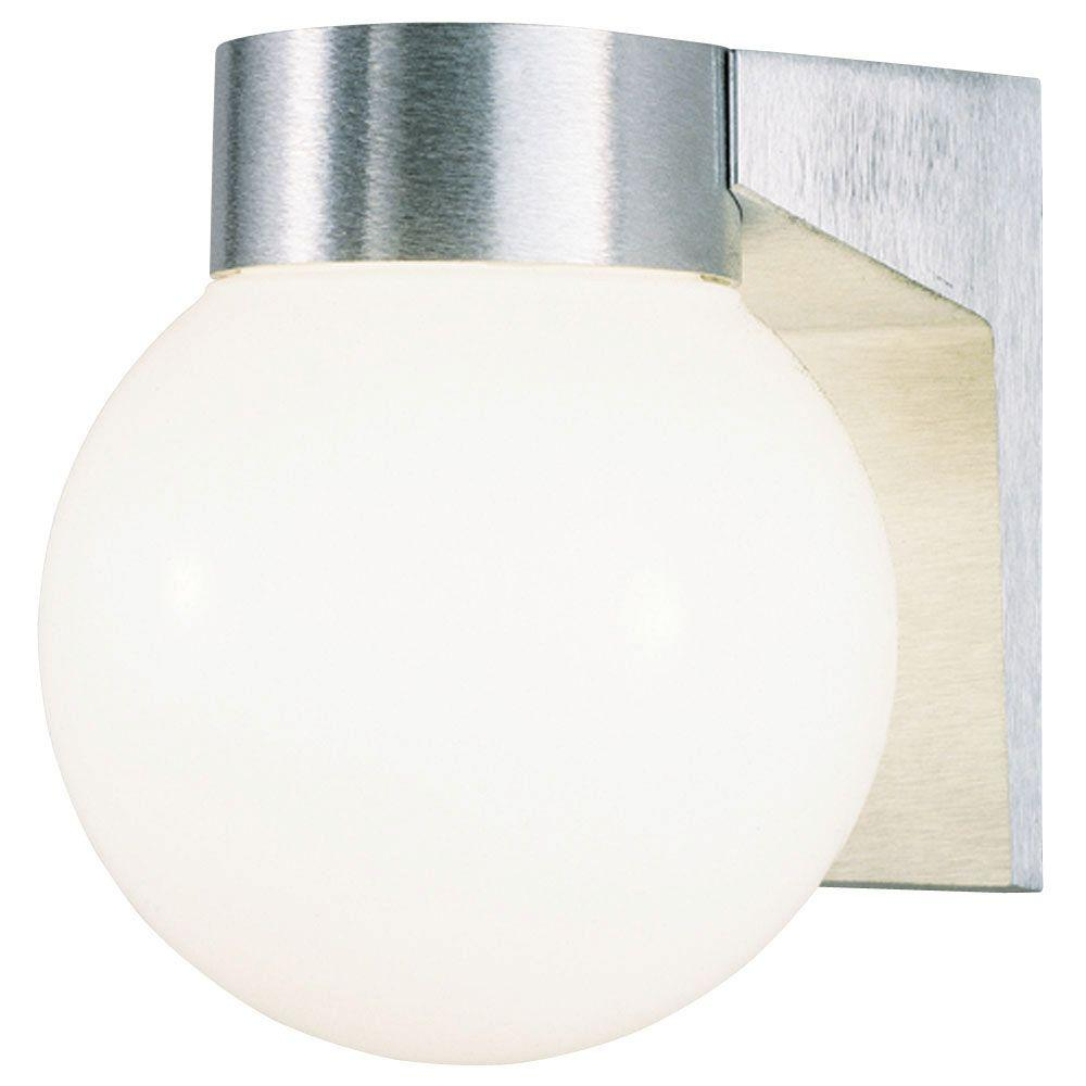 Westinghouse 1 Light Brushed Aluminum On Cast Exterior Wall Lantern With White Threaded Gl Globe