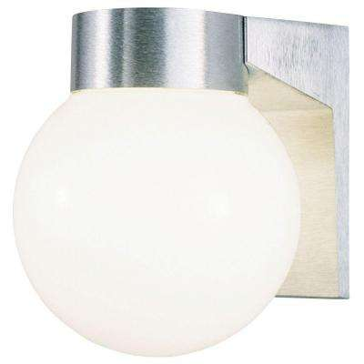 1-Light Brushed Aluminum on Cast Exterior Wall Lantern Sconce with White Threaded Glass Globe