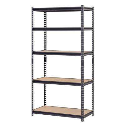 72 in. H x 36 in. W x 18 in. D 5-Shelf Steel Particle Board Shelves Commercial Shelving Unit in Black