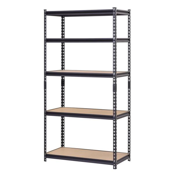 Black 5-Tier Heavy Duty Steel Garage Storage Shelving (36 in. W x 72 in. H x 18 in. D)