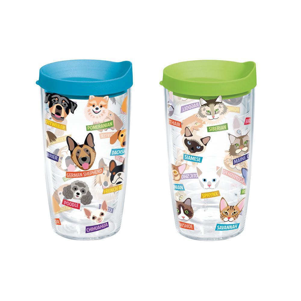 16 oz. Flat Art Dog Cat Breed Tumbler (2-Pack)