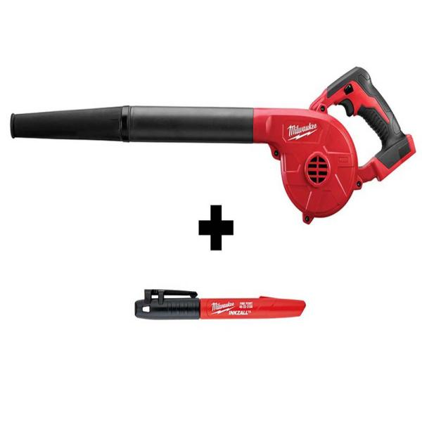 M18 18-Volt Lithium-Ion Cordless Compact Blower with INKZALL Black Fine Point Jobsite Marker