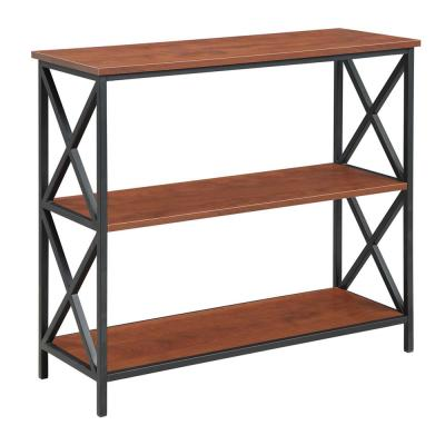 29.25 in. Cherry/Black Metal 3-shelf Etagere Bookcase with Open Back