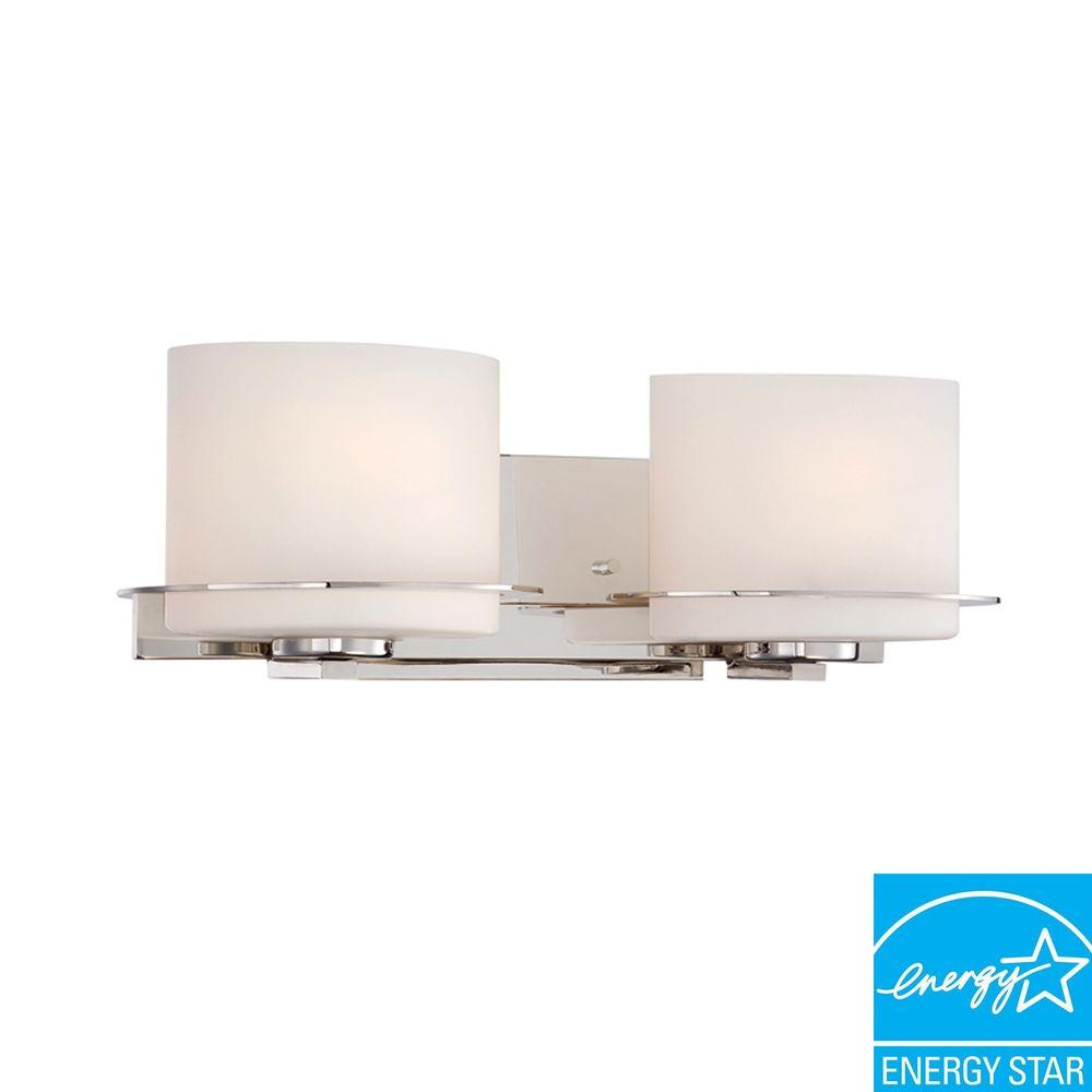 2-Light Polished Nickel Vanity Fixture with Oval Frosted Glass Shade