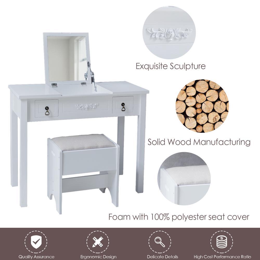 Boyel Living Vanity Set Dressing White Table Cushioned