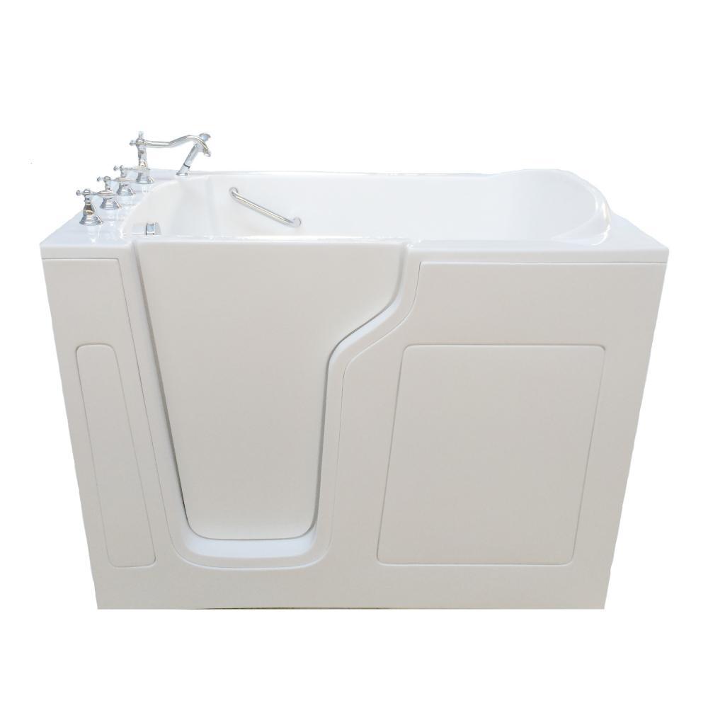 4.58 ft. Left Drain Walk-In Bathtub in White