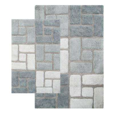 Berkeley 21 in. x 34 in. and 24 in. x 40 in. 2-Piece Bath Rug Set in Grey