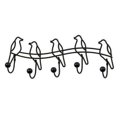 Black Tweet 18-3/8 in. L Decorative 5-Hook Wall Mount Rack