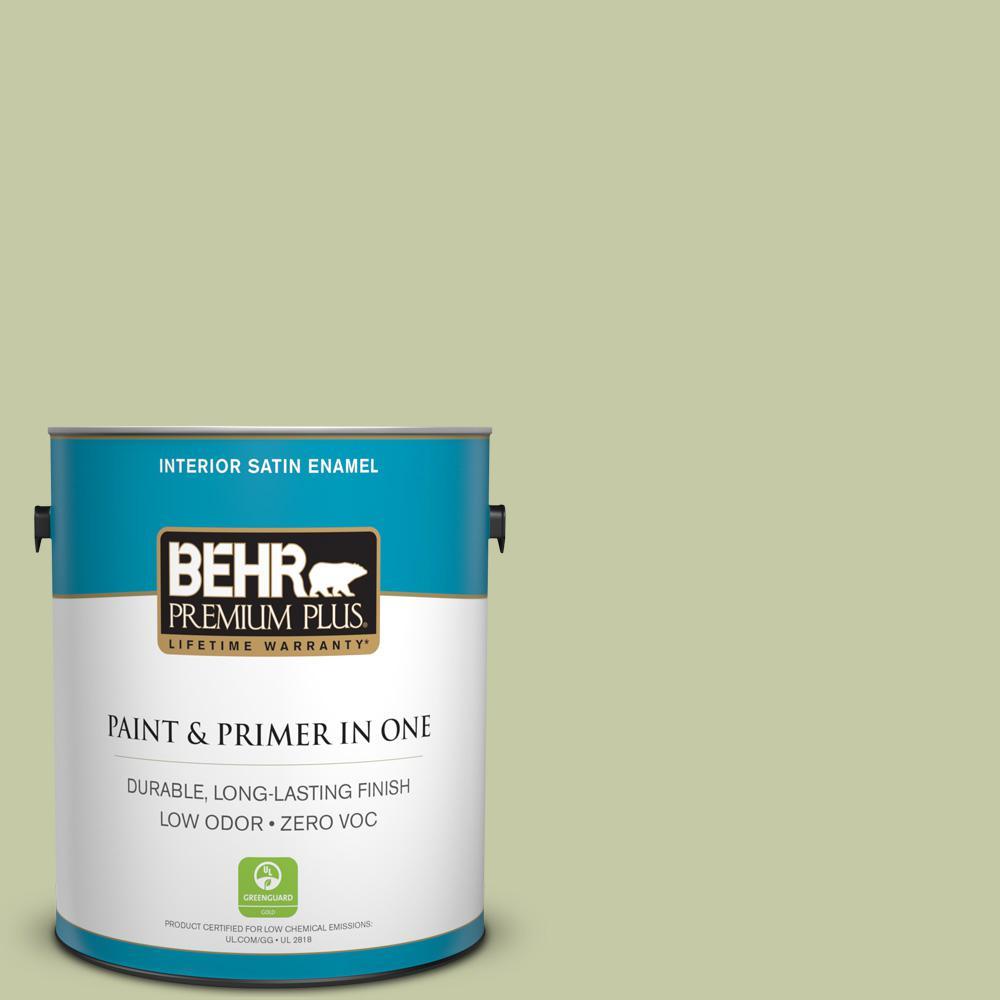 1-gal. #M350-3 Sap Green Satin Enamel Interior Paint