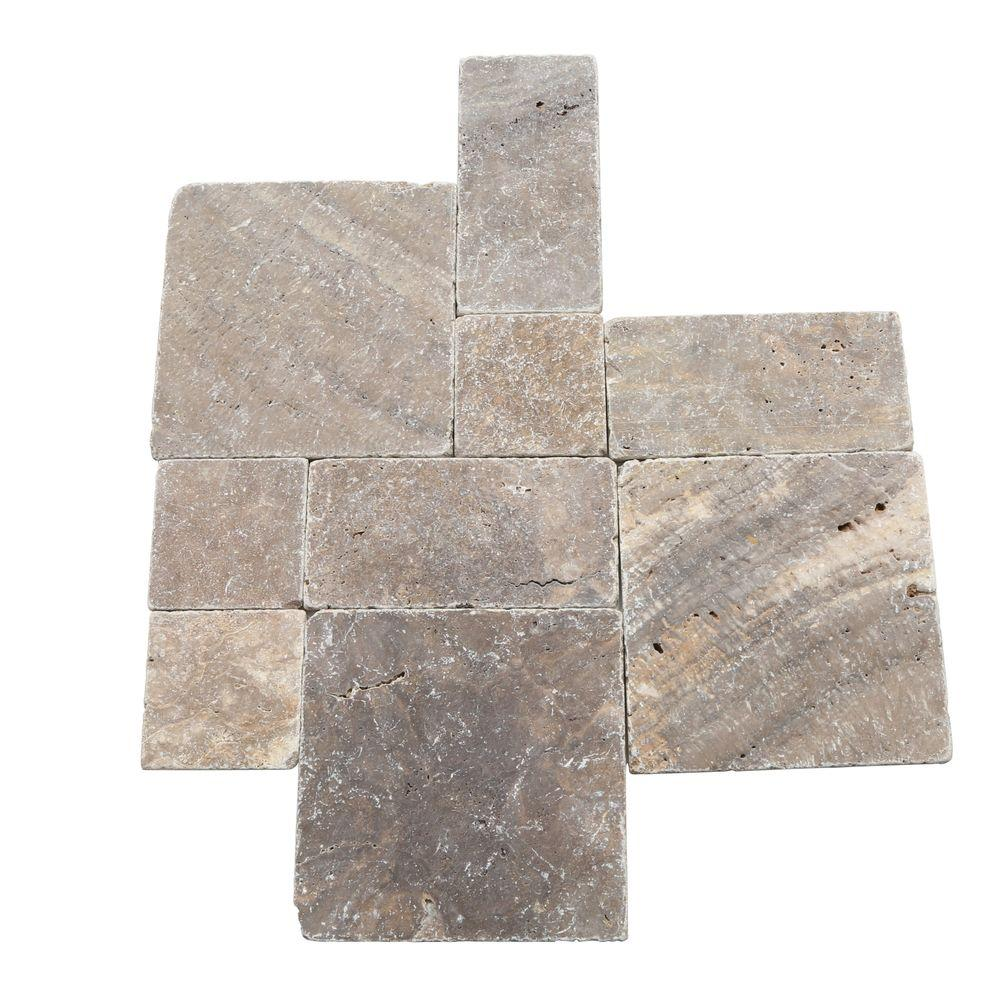 18x18 tile flooring the home depot travertine andes gray paredon pattern floor and wall tile kit 6 dailygadgetfo Gallery