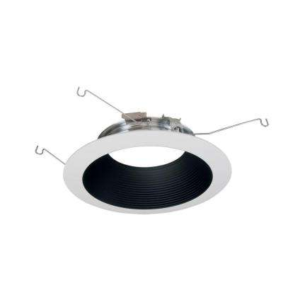 ML 6 in. Black and White LED Recessed Ceiling Light Baffle and Flange Attachable Module Trim