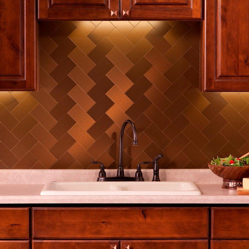 Aspect Long Grain 3 in. x 6 in. Metal Decorative Wall Tilein Brushed Bronze (8-Pack)