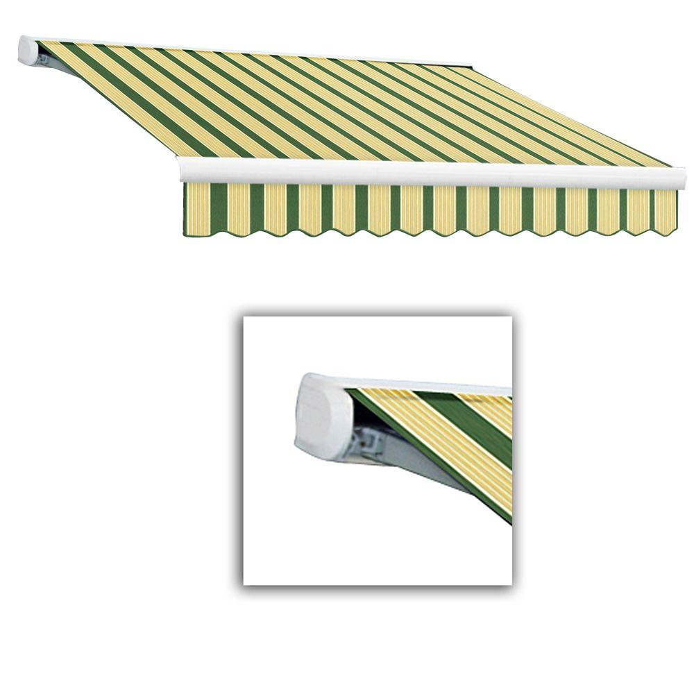 AWNTECH 10 ft. Key West Full-Cassette Right Motor Retractable Awning with Remote (96 in. Projection) in Forest/Tan Multi