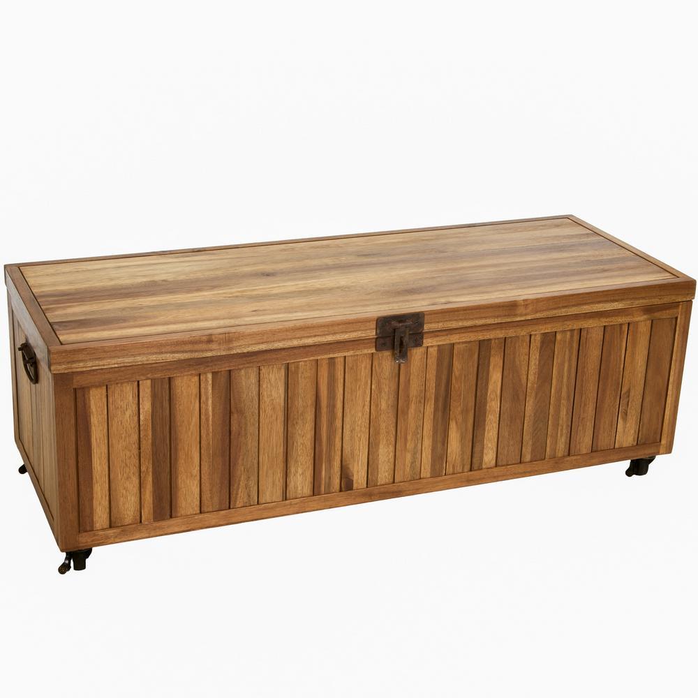 Alamo Stained Ebony Brown Acacia Wood Storage Bench