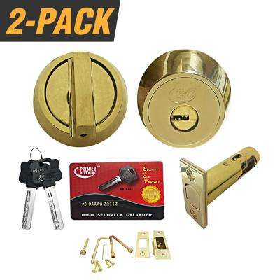 US3 Brass Heavy-Duty High-Security Single Cylinder Deadbolt with 06 Keyway (2-Pack)