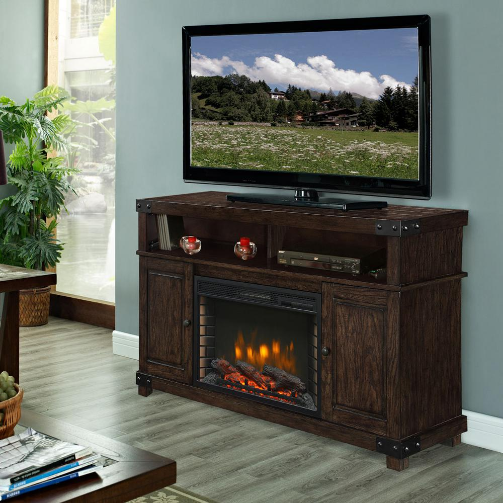 Hudson 53 in. Media Electric Fireplace in Rustic Brown