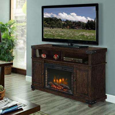 Hudson 53 in. Media Electric Fireplace TV Stand in Rustic Brown