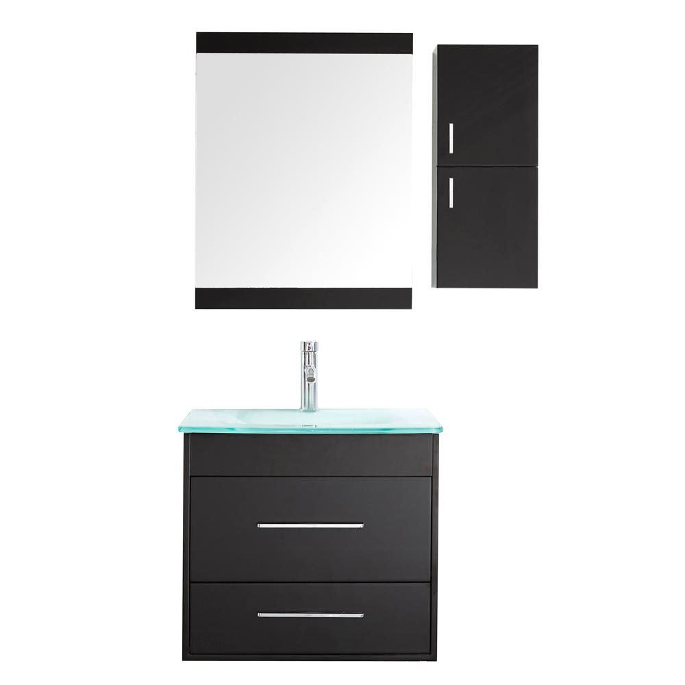 Mediterraneo Olympia 24 in. W x 19.5 in. D x 21 in. H Vanity in Wenge with Glass Top and Basin in Blue/Green and Mirror