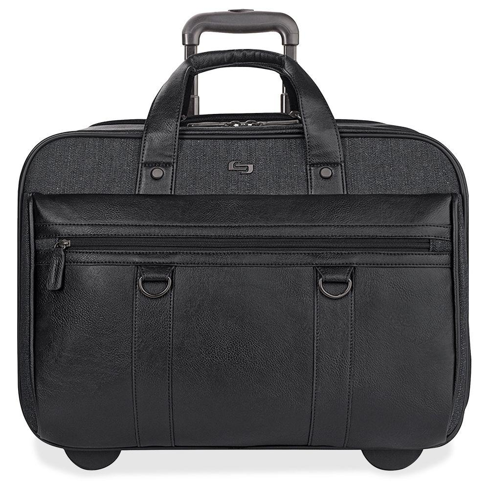 17.3 in. Black/Gray Cotton/Vinyl Executive Notebook Roller Carrying Case with