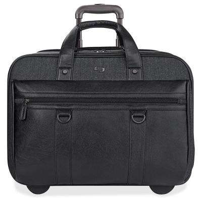 17.3 in. Black/Gray Cotton/Vinyl Executive Notebook Roller Carrying Case with Handle