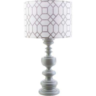 Wallace 28.5 in. Gray Indoor/Outdoor Table Lamp with Gray Print Shade