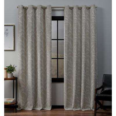 Kilberry 52 in. W x 84 in. L Woven Blackout Grommet Top Curtain Panel in Linen (2-Panel)