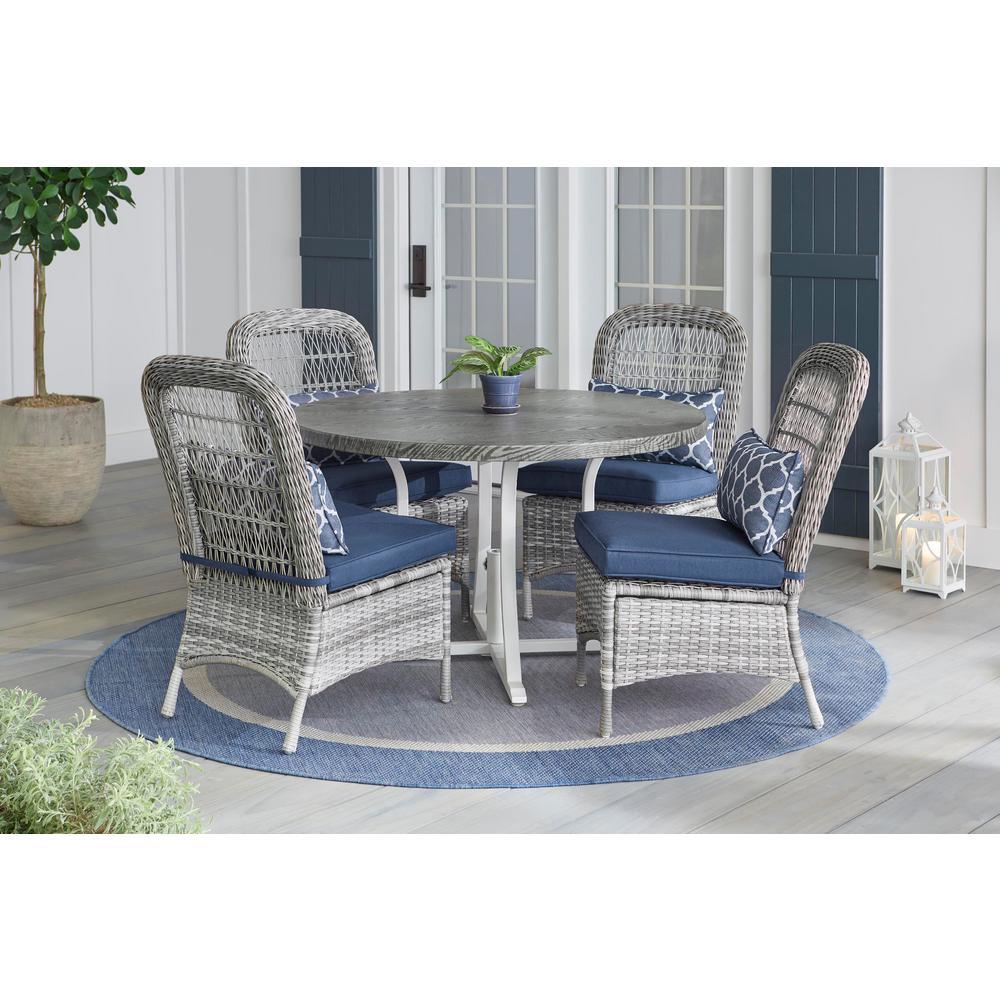Hampton Bay Beacon Park 5-Piece Gray Wicker Outdoor Dining Set with Midnight Cushions