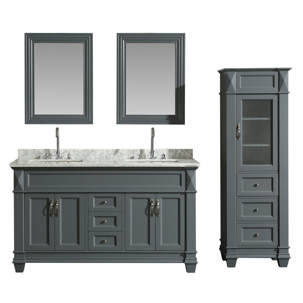 Design Element 61 in. W x 22 in. D Bath Vanity in Gray with Marble Vanity Top in White with White Basin, Mirror and Linen Cabinet