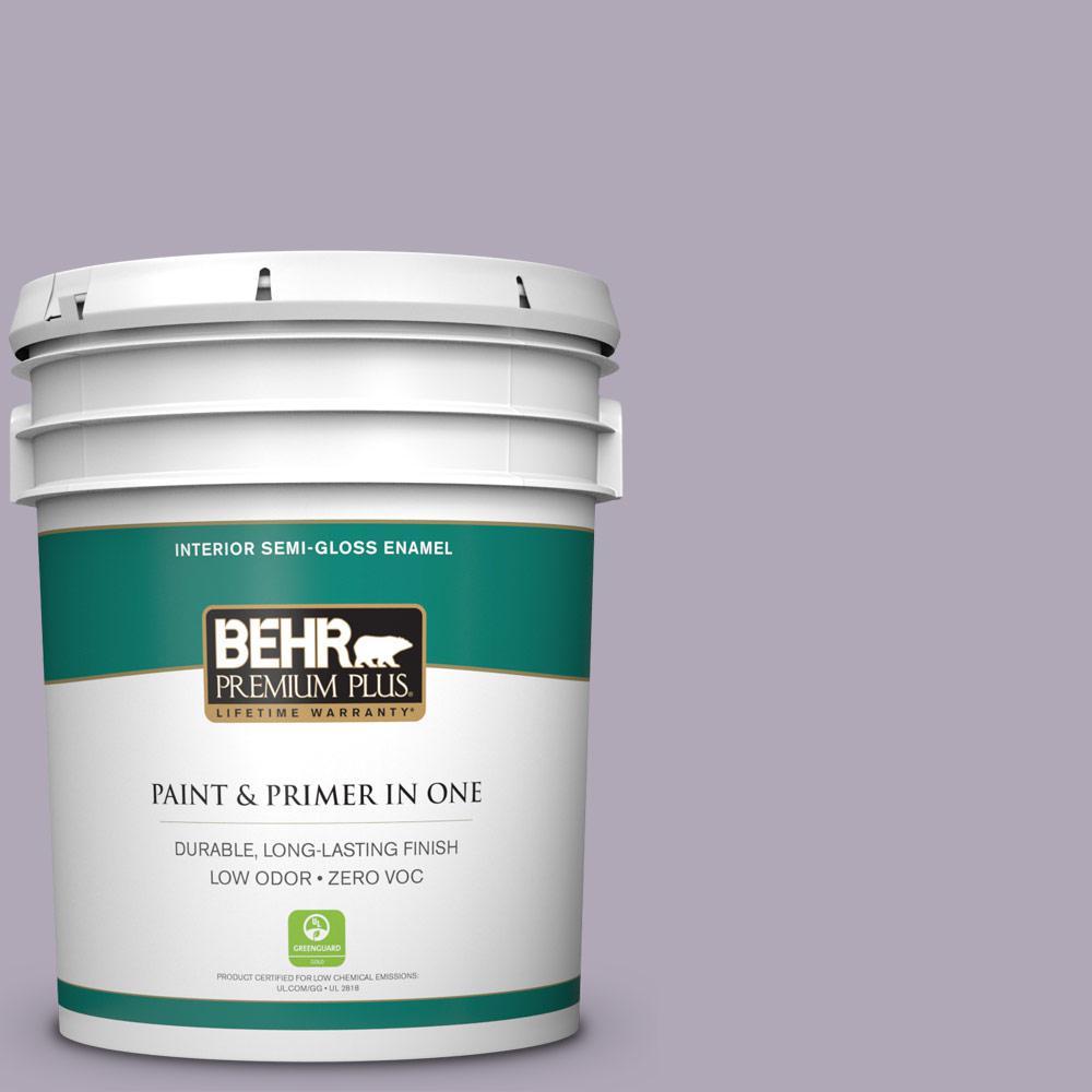 BEHR Premium Plus 5-gal. #660F-4 Plum Frost Zero VOC Semi-Gloss Enamel Interior Paint