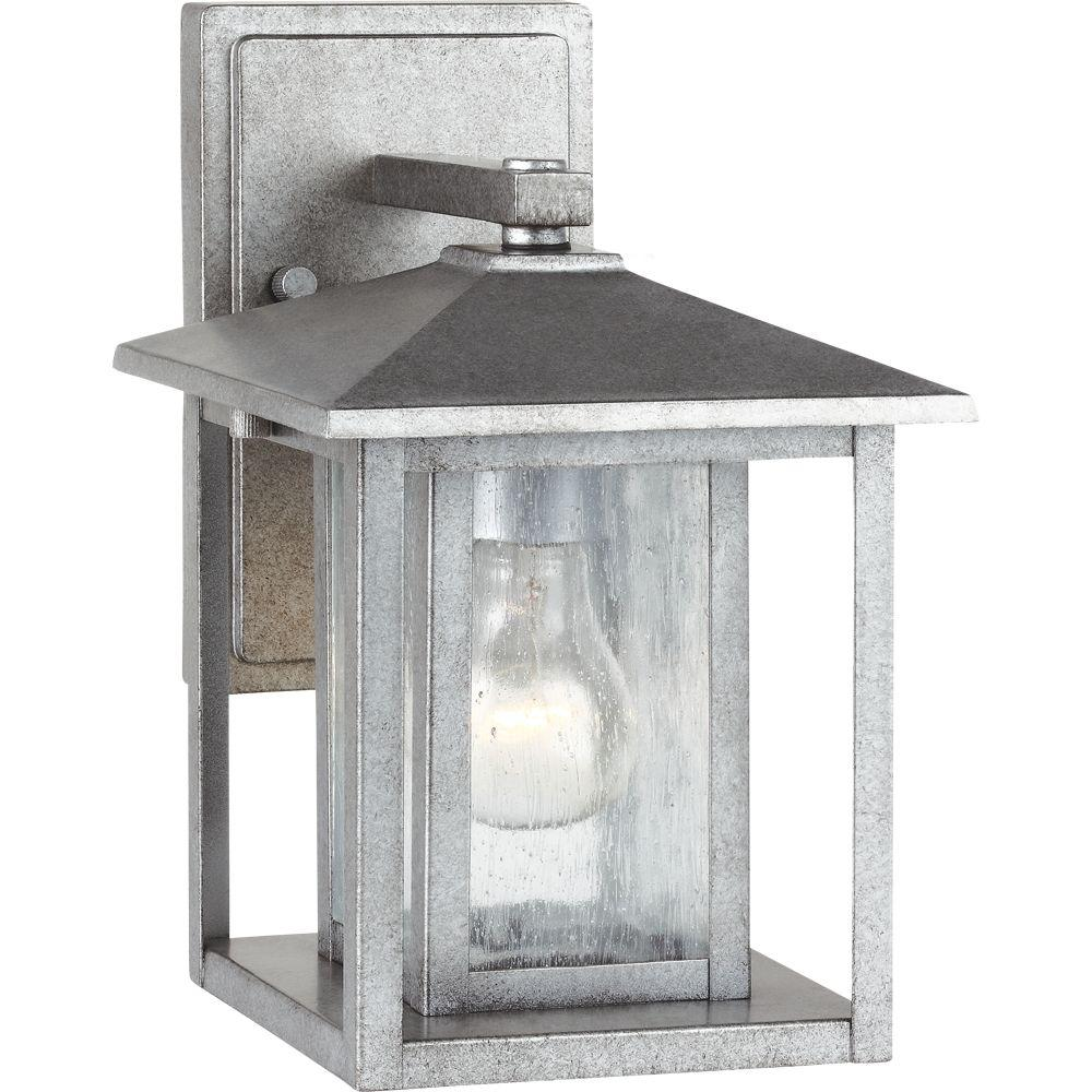 Sea Gull Lighting Hunnington 1-Light Weathered Pewter Outdoor 11 in. Wall Lantern Sconce was $85.88 now $42.94 (50.0% off)