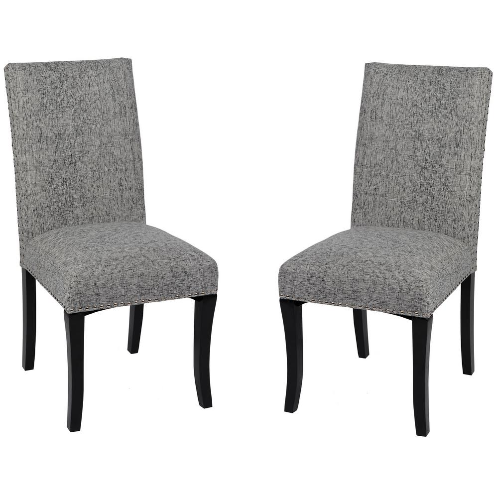 Ash Fabric And Black Wood Finish Dining Chair (Set