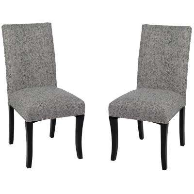 Deborah 40 in. Ash Fabric and Black Wood Finish Dining Chair (Set of 2)