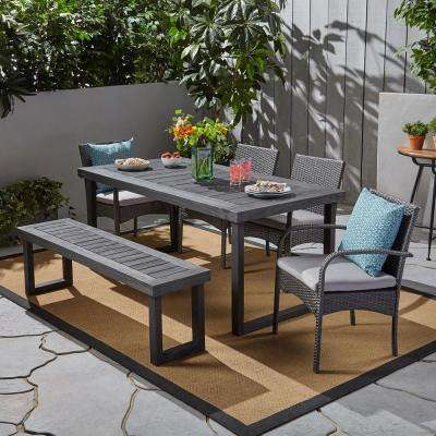 Stillwater Grey 6-Piece Aluminum and Wicker Outdoor Dining Set with Grey Cushions