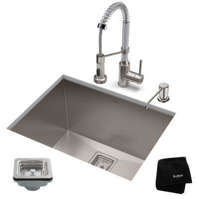Pax All-in-One Undermount Stainless Steel 24 in. Single Bowl Kitchen Sink with Faucet in Stainless Steel/Chrome
