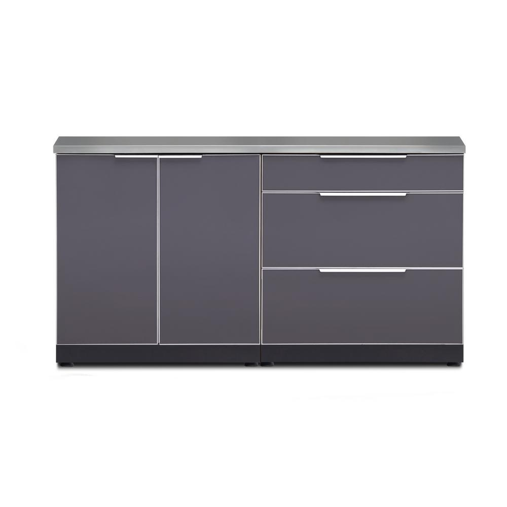 Slate Gray 3-Piece 64 in. W x 36.5 in. H x